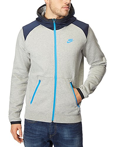 Nike -  Felpa con cappuccio  - Uomo Grey/Blue Medium