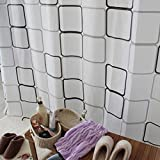 GRHOSE Eforcase Modern Style EVA Waterproof Mould-proof Bathroom Fabric Bath Shower Curtain White and Black Plaid-(180cm*200cm) -