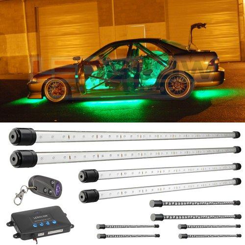 10Pc Green Wireless Led Underbody & Interior Kit
