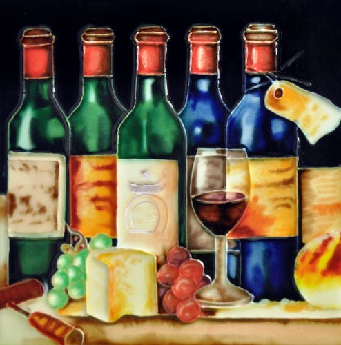 "5 Wine Bottles & Cheese Party - Decorative Ceramic Art Tile - 8""X8""En Vogue"