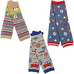 Kosbon Pack of 3 Baby Boys Cute Cartoon Pattern Kneepads Socks Leg Protector Warmer.