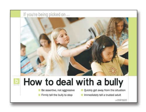 Bullying Prevention: How To Deal With A Bully Laminated Educational Poster. Guidance Art Print.