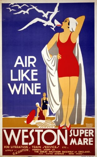 1930s Poster woman in a bathing suit drinking wine