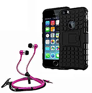 Hard Dual Tough Military Grade Defender Series Bumper back case with Flip Kick Stand for Iphone 6Gplus + Stylish zipper hand free for all smart phones by Aart Store