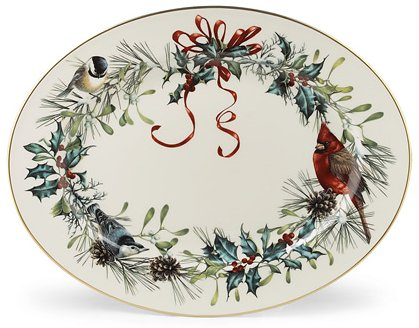 Lenox Winter Greetings Scenic 16-inch Gold-Banded Fine China Oval Serving Platter