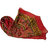 LADIES FAIR TRADE RED YELLOW FLORAL PATTERNED BOHO STYLE COTTON DOLLAR SCARF SHAWL