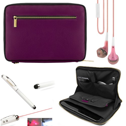 Faux Leather Carrying Bag Sleeve Case For Samsung Galaxy Note 10.1 (2014 Edition) Android Tablet + Hd Noise Filter Earphones + Stylus