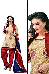Rajlaxmi Woman's Cotton Unstiched Dress Material Multi Coloured Cream & Patterned Red