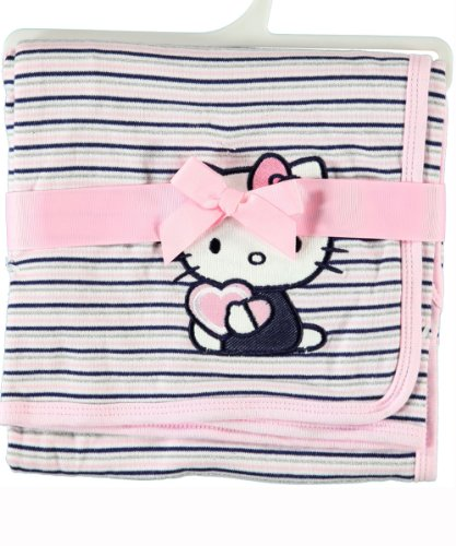 "Hello Kitty Pink Stripes Baby Blanket 30""x30"" by Weeplay"