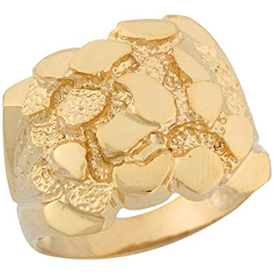 14ct Solid Yellow Gold Brilliant Mens Nugget Ring