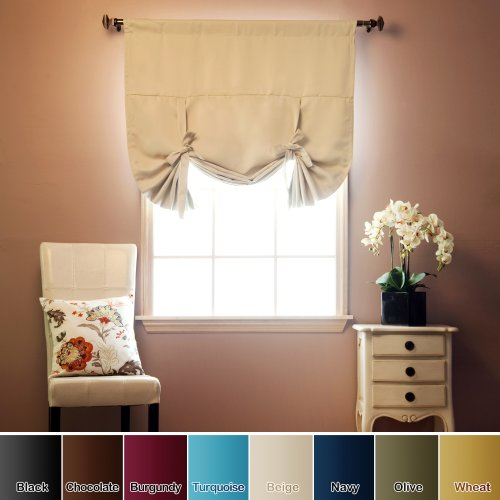 tie up shade solid insulated thermal blackout window shade 42 w x 63 l beige ebay. Black Bedroom Furniture Sets. Home Design Ideas