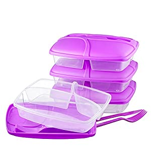 3 compartment food container with lid set of cutlery included bento lunch box. Black Bedroom Furniture Sets. Home Design Ideas