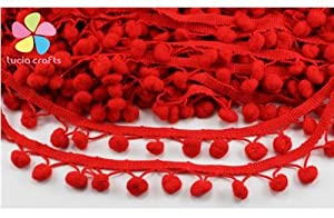 2x2y Pompon Ball Trims Ribbon DIY Sewing Accessory Lace (red)