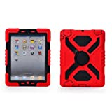 Ipad 2/3/4 Case Plastic Kid Proof Extreme Duty Dual Protective Back Cover with Kickstand and Sticker for Ipad 4/3/2 - Rainproof Sandproof Dust-proof Shockproof (Red/Black)
