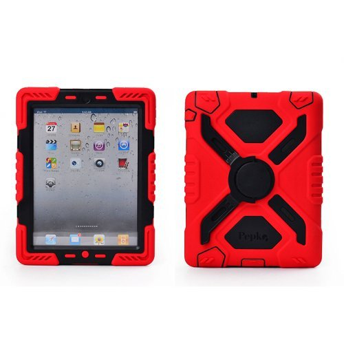 Hot Newest Ipad 5 / Ipad Air Case Silicone Plastic Kid Proof Extreme Duty Dual Protective Back Cover With Kickstand And Sticker For Ipad 5 / Ipad Air - Rainproof Sandproof Dust-Proof Shockproof(Red/Black) front-220895
