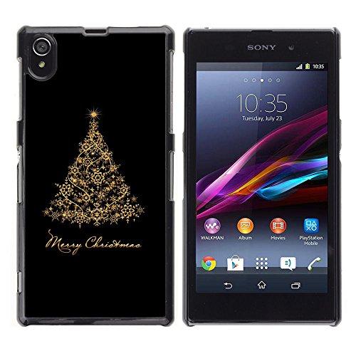 GooooStore/Dura Custodia Rigida della copertura della cassa - Christmas Holidays Black Gold Tree - Sony Xperia Z1 L39 C6902 C6903 C6906 C6916 C6943