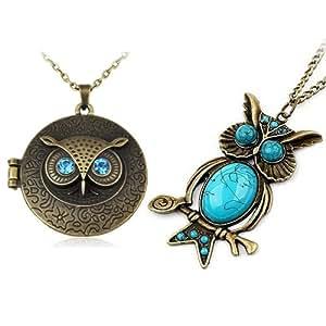 World Pride Vintage Round Owl Locket Necklace Retro