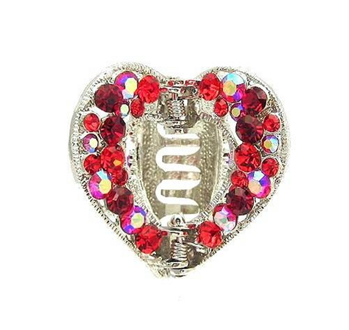Hair Clip - H54 - Open Heart set with Swarovski (tm) Crystal Stones ~ Siam Red Iridescent
