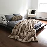 "Best Home Fashion Champagne Fox Faux Fur Full Throw Blanket 58"" x 84"" - TR"