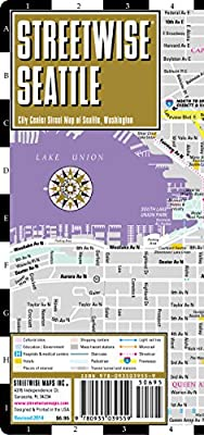 Streetwise Seattle Map - Laminated City Center Street Map of Seattle, Washington - Folding pocket size travel map with monorail & streetcar lines