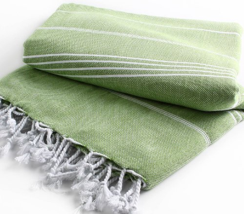 "Pestemal Blanket Throw Turkish Striped Beach Towel Picnic Home Bed 59""X79"" Tm By Cacala ""Olive Green"" front-805665"
