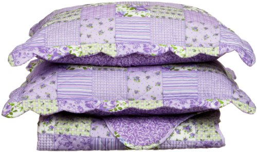 Cathay Home Fashions Luxury Silky Soft Rachel Mini Quilt Set, Full/Queen