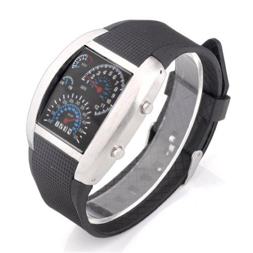 Shot-In Creative Led Watch Sector Sports Car Meter Dial Men Wrist Watch