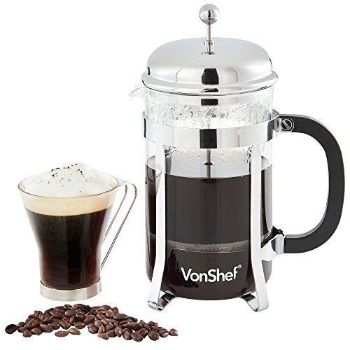 Lowest Prices! VonShef 12 Cup 48-Oz Glass French Press Cafetiere Coffee Make