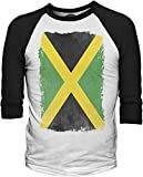 Big Texas Weathered Flag of Jamaica 3/4-Sleeve Baseball T-Shirt