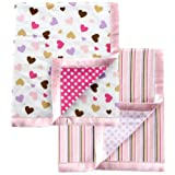 Luvable Friends 2 Count Flannel Blanket with Satin Trim, Pink