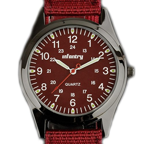 Infantry Nightvision Military Quartz Sports Mens Wrist Watch-Red