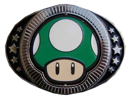 Super mario brothers reversible green/red mushroom Novelty Belt Buckle