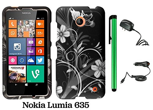 Nokia Lumia 635 (Us Carrier: T-Mobile, Metropcs, And At&T) Premium Pretty Design Protector Cover Case + Travel (Wall) Charger & Car Charger + 1 Of New Assorted Color Metal Stylus Touch Screen Pen (Black Silver Butterfly Flower)
