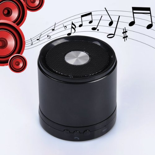 Mini Wireless Bluetooth Speaker Bullet With Built In Microphone High Quality Sound (Black)