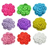 9 Piece Large Crochet Flower Clips Assortment - Great For Girls Toddlers And Babies.