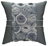 Avarada Striped Rose Bouquet Decorative Throw Pillow Cover 16x16 Inch Gray