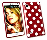 Emartbuy® LG Optimus L9 P760 Polka Dots Gel Skin Cover/Case Red / White