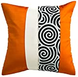 Avarada Striped Spiral Throw Pillow Cover Decorative Sofa Couch Cushion Cover Zippered 16x16 Inch (40x40 cm) Orange White