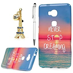 Huawei Honor 5X Case, YOKIRIN Sea & Never Stop Dreaming Pattern Clear TPU Silicone Gel Back Cover Skin Soft Case with a 3D Diamond Eiffel Tower Dust Plug and Stylus Pen