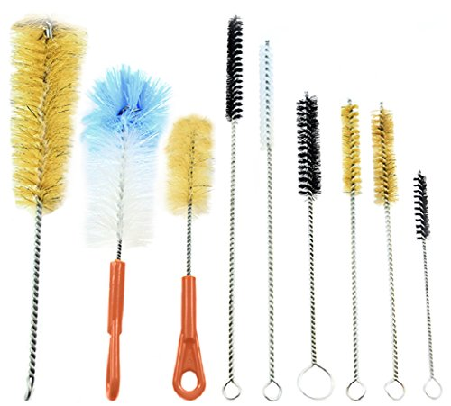 McKay 9 Piece Variety Pack Wire Tube and Bottle Brush Cleaning Set- Variable Sizes & Shapes Brushes - Bristles Fabricated with Soft and Stiff Natural Boar Bristles or Nylon, Hog Hair - Easy to Clean (Tattoo Cleaning Brushes compare prices)