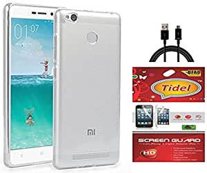 Tidel Crystal Clear Case Soft Flexible TPU Back Cover for Redmi 3S Prime -Transparent With Tidel Screen Guard & Data Cable