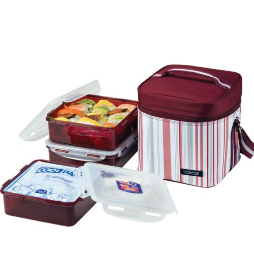 Lock & Lock Lunch Box 3-Piece Set With Insulated Purple Stripe Bag, Cool Pack, Three 5-Cup Containers With One Divider