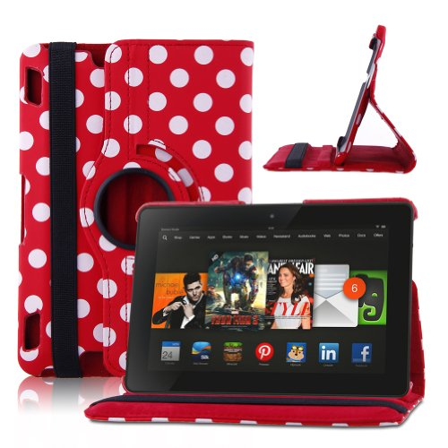 Eleoption(Tm) Fashionable Polka Dot Case With 360 Degree Rotating Stand And Magenetic Functions For 2013 Kindle Fire Hdx 7 Inch Red(Auto Sleep And Wake Speciality)