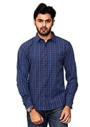 Rafters red and indigo blue check, full sleeves men's slim fit casual shirt