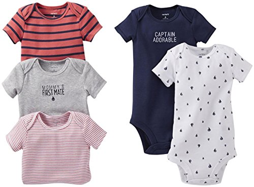 Carter'S Baby Boys' 5 Pack Bodysuits (Baby) - Navy - 6 Months back-213627