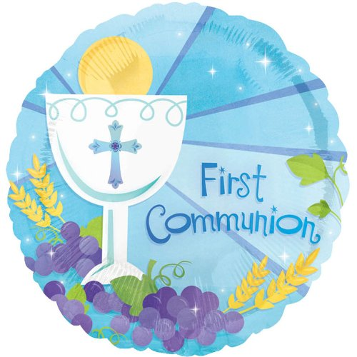 "Anagram International First Communion Blue Flat Balloon, 18"", Multicolor"