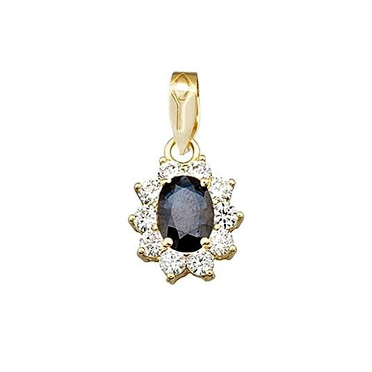 18k gold pendant 7x5mm oval sapphire center stone. zircons [AA4819]