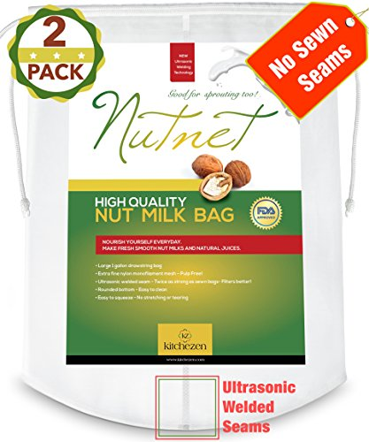 Best Nut Milk Bag-Fine Cheesecloth-Nylon Strainer-Filter Bags-Reusable Almond Milk Bag-Food Strainers (Yogurt Strainer Glass compare prices)