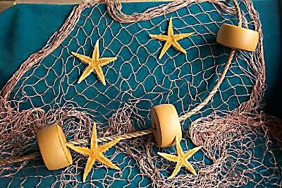 6 X 9 Ft Fishing Net, Fish Netting, Floats, Starfish, Rope, Nautical Decor, Fish Net