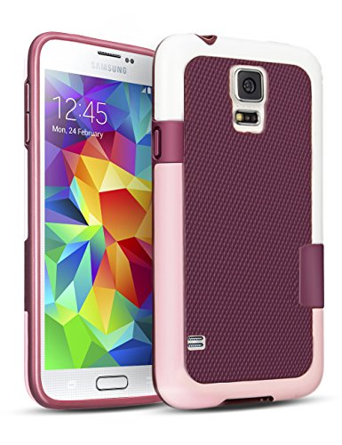 Samsung Galaxy S5 Case, TILL(TM) Hybrid Impact 3 Color Rugged Case, Soft PC Bumper + Soft TPU Back Shockproof Protective Slim Cover Shell for Samsung Galaxy S5 I9600 GS5 G900V(White, Pink & Red) (Tmobile Samsung Galaxy S5 Case compare prices)